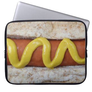 delicious hot dog with mustard photograph laptop sleeve