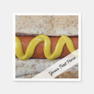 delicious hot dog with mustard photograph paper napkins