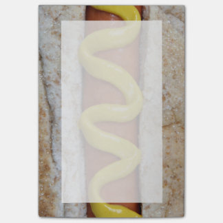 delicious hot dog with mustard photograph post-it notes