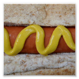 delicious hot dog with mustard photograph poster