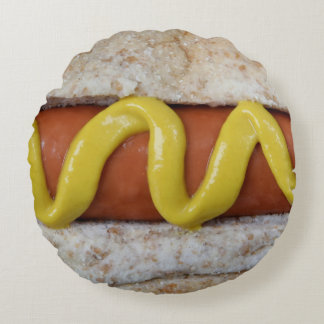 delicious hot dog with mustard photograph round pillow