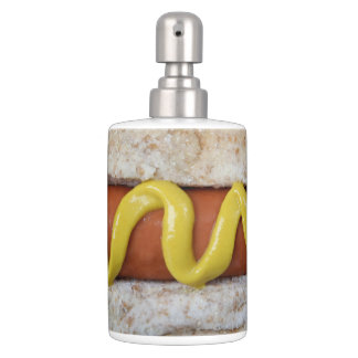 delicious hot dog with mustard photograph soap dispenser and toothbrush holder