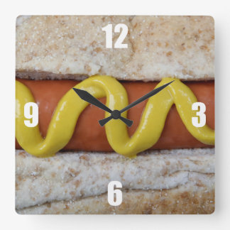 delicious hot dog with mustard photograph square wall clock