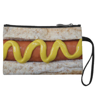 delicious hot dog with mustard photograph wristlet