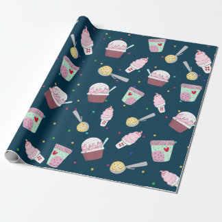 Delicious ice cream pattern wrapping paper