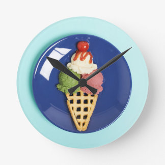 delicious ice cream served on blue plate round clock