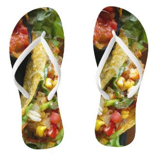 delicious Mexican Tacos photograph Flip Flops