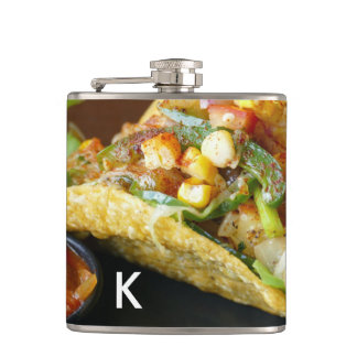 delicious Mexican Tacos photograph Hip Flask