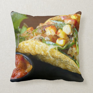 delicious Mexican Tacos photograph Throw Pillow