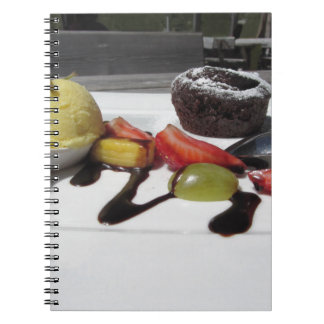 Delicious molten chocolate cake with fresh fruit notebook