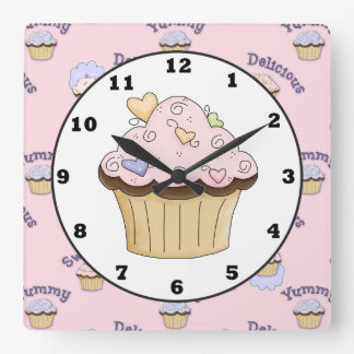 Delicious pink cupacke bakery kitchen wall clock