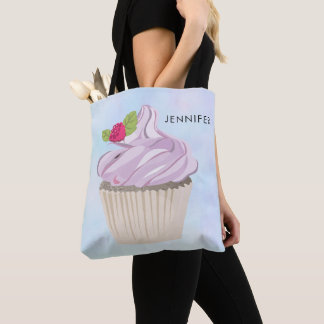 Delicious Pink Cupcake Berry on Top Custom Tote Bag