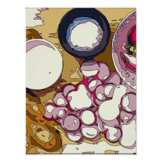 Delicious Radishes and Baguette Vegetables Posters