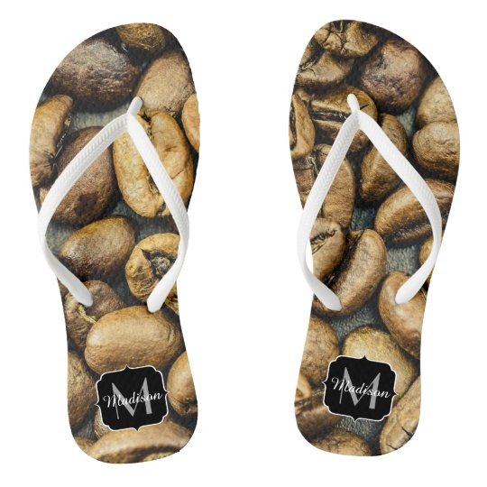 Delicious rustic gold coffee beans Monogram Flip Flops
