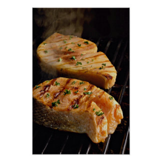 Delicious Salmon steaks on grill Poster