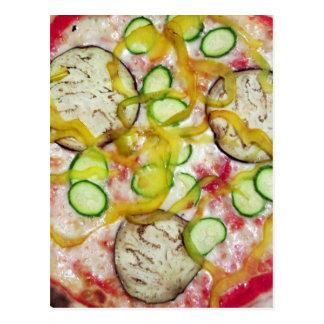 Delicious vegetarian pizza postcard