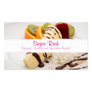 Delicious Whipped Cream and Banana Dessert Business Card Templates