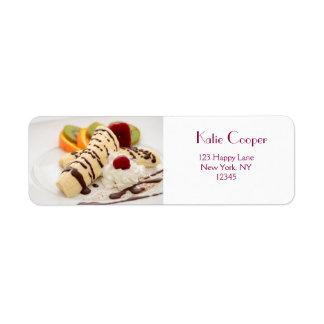 Delicious Whipped Cream and Banana Dessert Return Address Label