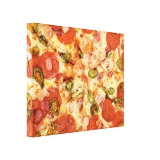 delicious whole pizza pepperoni jalapeno photo canvas print