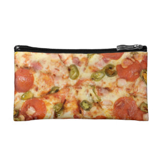 delicious whole pizza pepperoni jalapeno photo cosmetic bag