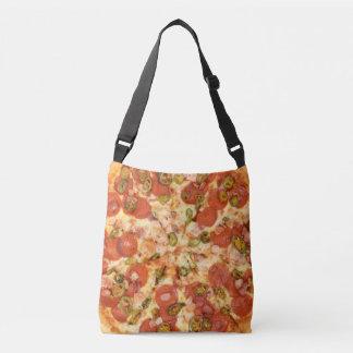 delicious whole pizza pepperoni jalapeno photo crossbody bag