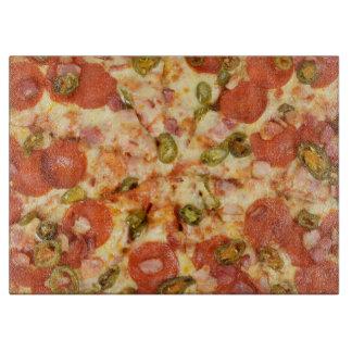 delicious whole pizza pepperoni jalapeno photo cutting board
