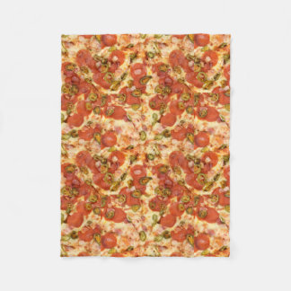 delicious whole pizza pepperoni jalapeno photo fleece blanket