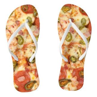 delicious whole pizza pepperoni jalapeno photo flip flops