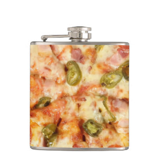 delicious whole pizza pepperoni jalapeno photo hip flask