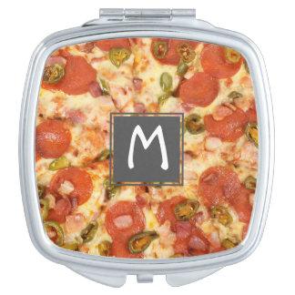 delicious whole pizza pepperoni jalapeno photo makeup mirror