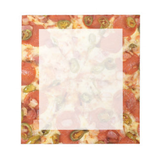 delicious whole pizza pepperoni jalapeno photo notepad