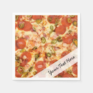 delicious whole pizza pepperoni jalapeno photo paper napkin