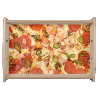 delicious whole pizza pepperoni jalapeno photo serving tray