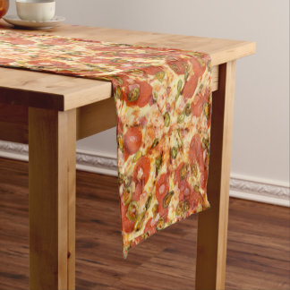 delicious whole pizza pepperoni jalapeno photo short table runner