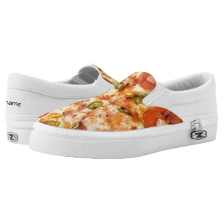 delicious whole pizza pepperoni jalapeno photo Slip-On sneakers