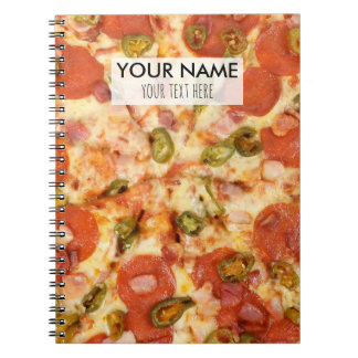 delicious whole pizza pepperoni jalapeno photo spiral notebook
