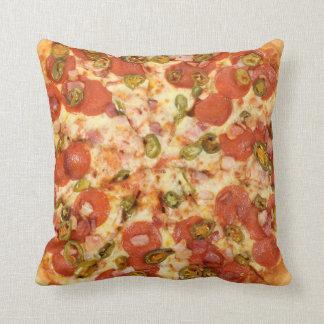 delicious whole pizza pepperoni jalapeno photo throw pillow