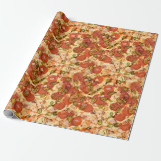 delicious whole pizza pepperoni jalapeno photo wrapping paper