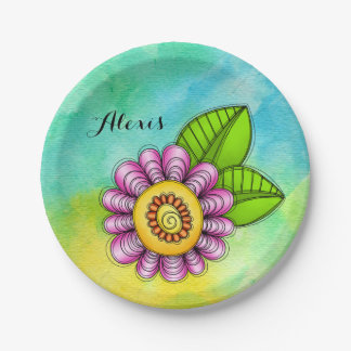 Delight Watercolor Doodle Flower Plate 7 Inch Paper Plate