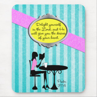 Delight Yourself in the Lord Psalm 37:4 Bible Teal Mouse Pad