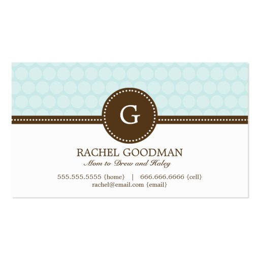 Delightful Dots Mommy Card / Personal Calling Card Business Cards
