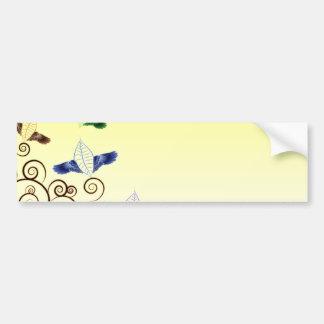 Delightful leaf birds and cute brown swirls bumper sticker