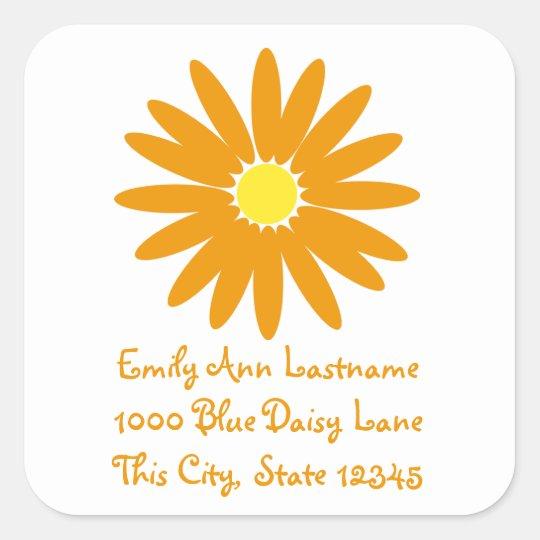 Delightful Tangerine Daisy Square Sticker