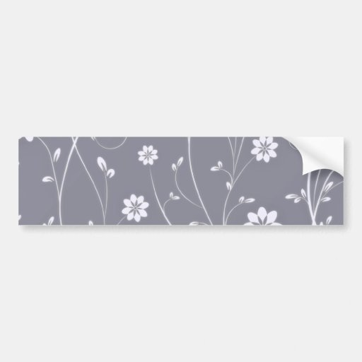 Delightful White floral and Bluish Ribbon Bumper Stickers