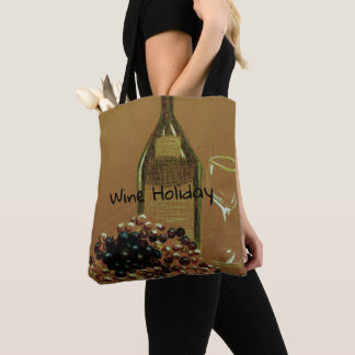 Delightful Wine Holiday Vino and Grapes Tote Bag