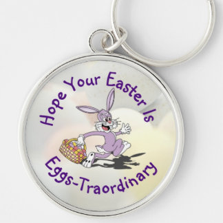 Delightful - Yippy! It's Easter Egg Hunting Season Silver-Colored Round Keychain