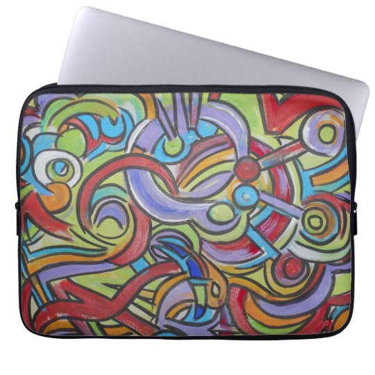 Delirious-Hand Painted Abstract Art Laptop Sleeve
