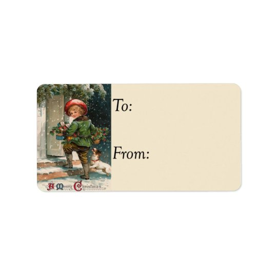 Delivering Christmas Gifts Vintage Gift Tag