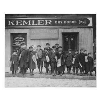 Delivering the Sunday Papers, 1909. Vintage Photo Poster