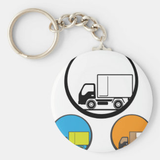 Delivery Truck Icon Vector Basic Round Button Keychain